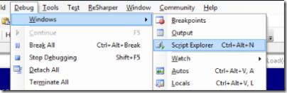 Script Explorer menu item