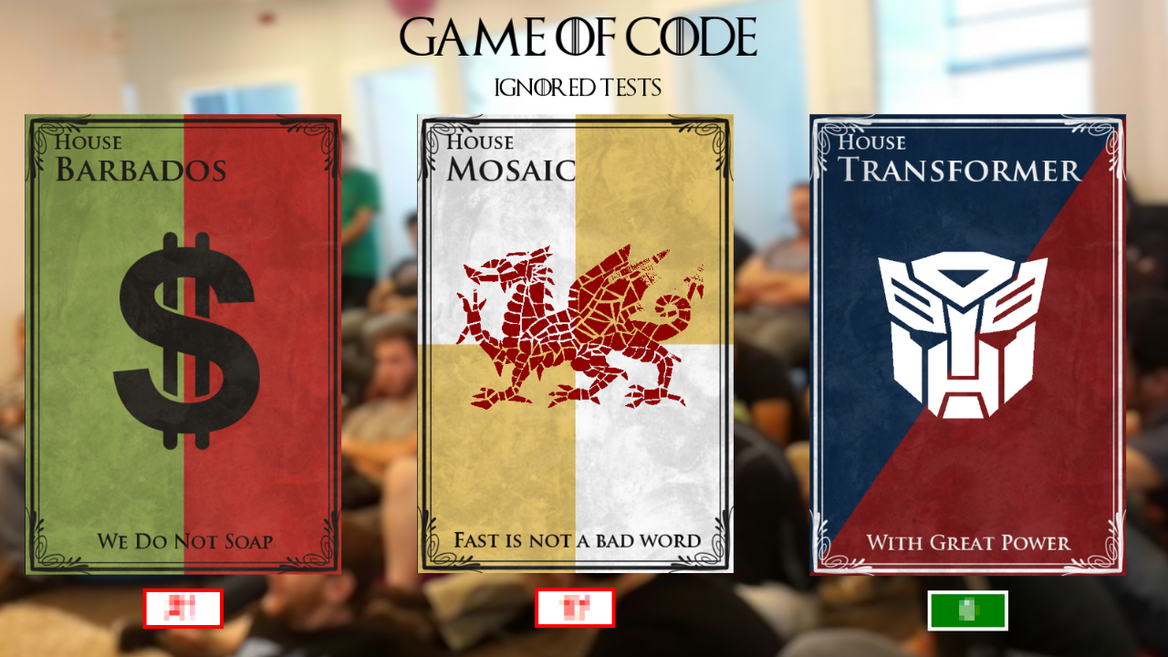 Game of Code dashboard